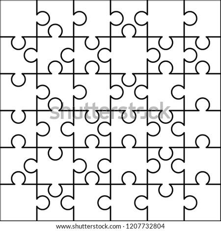 36 white puzzles pieces arranged in a square. Jigsaw Puzzle template ready for print. Cutting guidel Stock photo © evgeny89