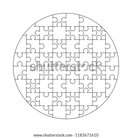 52 white puzzles pieces arranged in a round shape. Jigsaw Puzzle template ready for print. Cutting g Stock photo © evgeny89
