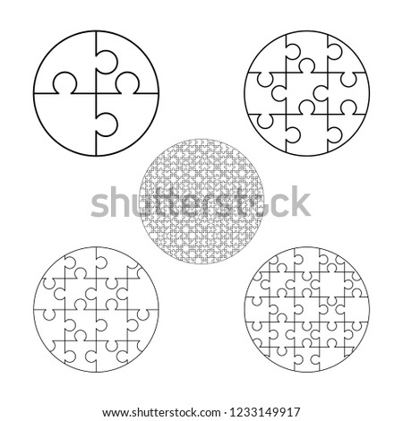 Large set of white puzzles pieces in round shape. Jigsaw Puzzle template ready for print. Cutting gu Stock photo © evgeny89