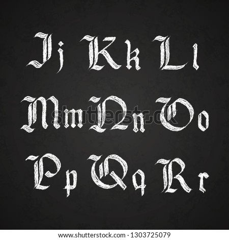 Old hand drawn gothic letters drawing with white chalk, J-R symbols on black chalkboard Stock photo © evgeny89