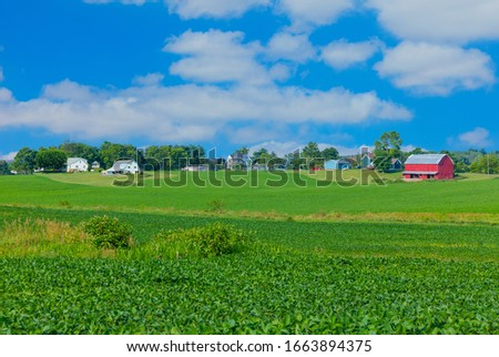 Agricultural green fields and areas under bright sun in Austria country. Stock photo © artjazz