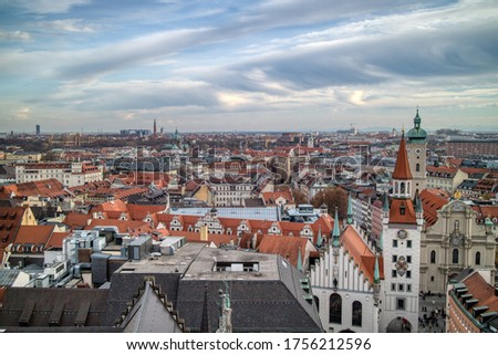 Townscape panoramic view above historical part of Munich, Germany. Stock photo © artjazz