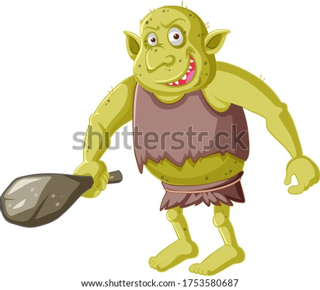 Yellow goblin or troll holding hunting tool in cartoon character Stock photo © bluering