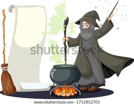 Old witch with black magic pot and broomstick and blank banner p Stock photo © bluering