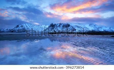Praia pôr do sol Noruega norueguês mar Foto stock © dmitry_rukhlenko