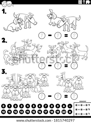 subtraction educational task with kids color book page Stock photo © izakowski