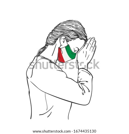 Praying for Italy. Coronavirus pandemic outbreak in Italy. Doctor praying for help. Young woman medi Stock photo © Maridav