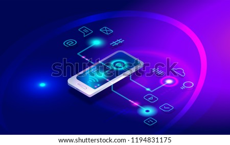 Security System Voice Control isometric icon vector illustration Stock photo © pikepicture