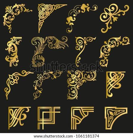 Gold calligraphic ornamental corners in vintage style - vector design Stock photo © blue-pen