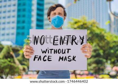 no entry without face mask Hand written text - lettering isolated on white. Coronovirus COVID 19 con Stock photo © galitskaya