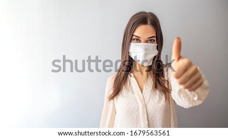 Virus faţă masca tineri sănătos femeie Imagine de stoc © Maridav