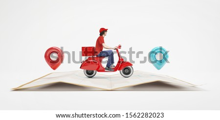 Delivery logo with deliver or courier man in blue uniform cartoo Stock photo © bluering