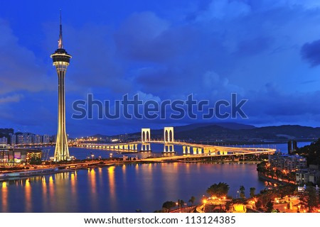 urban landscape of macau with famous traveling tower under sky n stock photo © cozyta