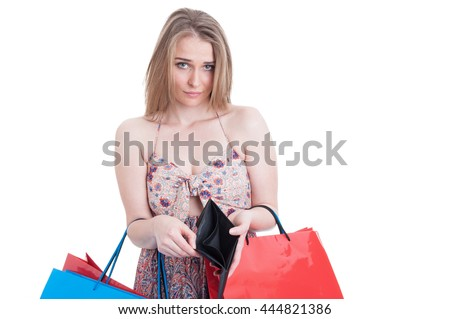 young caucasian woman with empty wallet   broke and many credit stock photo © dacasdo