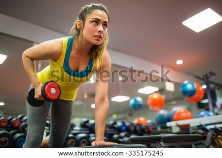 Slender Caucasian Woman Working Out Handweight Weight Dumbell Stock photo © Qingwa