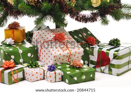 куча Рождества представляет украшенный белый вечнозеленый Сток-фото © AndreyKr