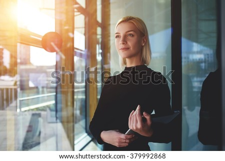 Beautiful business woman thinking about something while braking  Stock photo © HASLOO