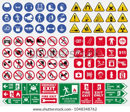 Stock photo: set prohibited signs   flames