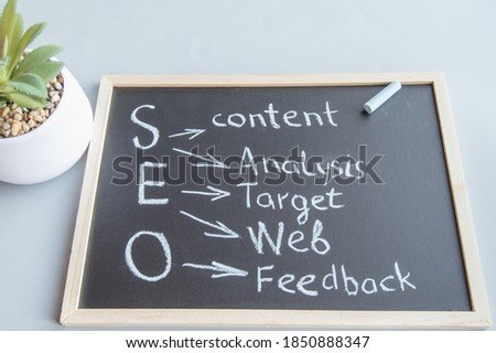 The word 'Keywords' handwritten with white chalk on a blackboard stock photo © nenovbrothers