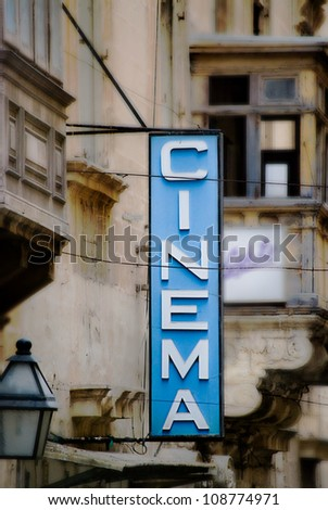 Old Fashioned Cinema Sign in Malta. stock photo © pixelmemoirs