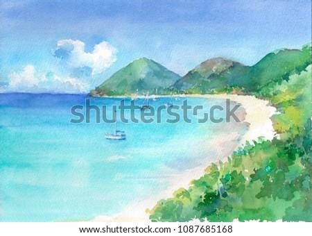 Сток-фото: акварель · пляж · морем · белый · яхта · горизонте