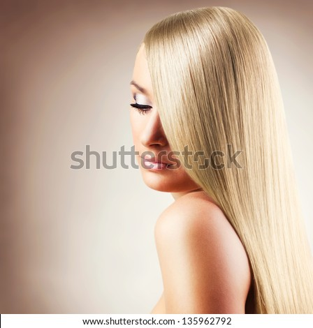 Portrait of young beautiful woman with blond glossy hair. Beauty Stock photo © Victoria_Andreas