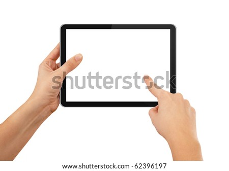 a male hand holding a touchpad pc, one finger touches the screen, isolated on blue Stock photo © ra2studio