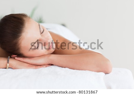 cute · brunette · massage · tabel · spa - stockfoto © wavebreak_media