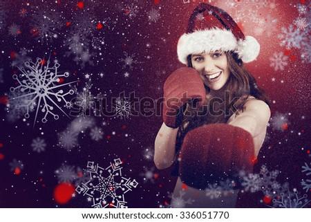 Portrait femme souriante gants de boxe blanche sport corps Photo stock © wavebreak_media