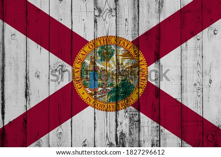 Foto stock: Flag Of Us State Of Florida On Grunge Wooden Texture Precise Pai