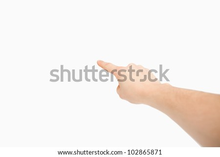 Extended finger pointing a blank space against a white background Stock photo © wavebreak_media