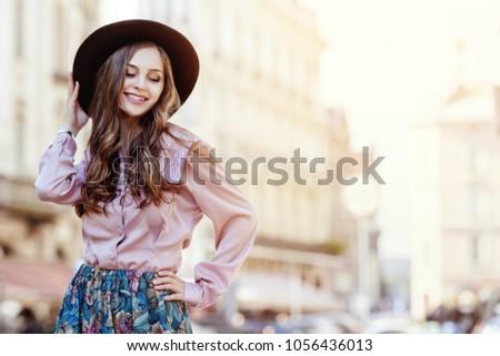 Portrait beauté cheveux longs chapeau belle Photo stock © PawelSierakowski