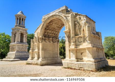 Roman City of Glanum, Triumphal Arch Ceiling, Saint-Remy-de-Prov Stock photo © Bertl123