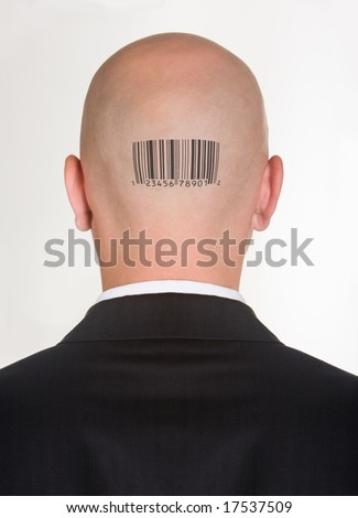 Consumer barcode in a male head Stock photo © adrian_n