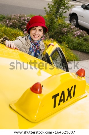Woman Smiling Wearing Bright Accents Enters Taxi Cab Automobile  Stock photo © cboswell