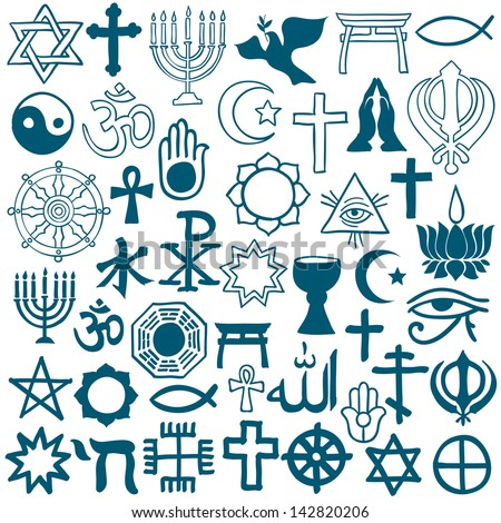 Graphic Symbols Of Different Religions On White Vector Illustration
