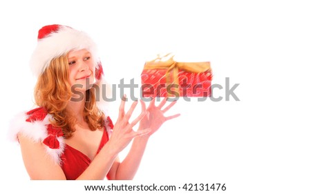 mrs. Santa with catching a gift box. Isolated on white backgroun Stock photo © Nejron