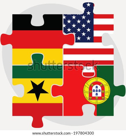 Portuguese and Ghanaian Flags in puzzle isolated on white backgr Stock photo © Istanbul2009