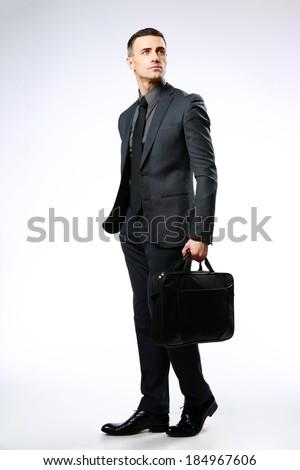 Portret nadenkend zakenman zak grijs business Stockfoto © deandrobot