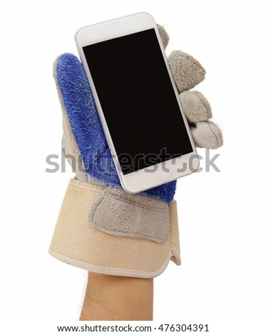 Hand in Leather Construction Working Gloves Holding Blank Busine Stock photo © stevanovicigor