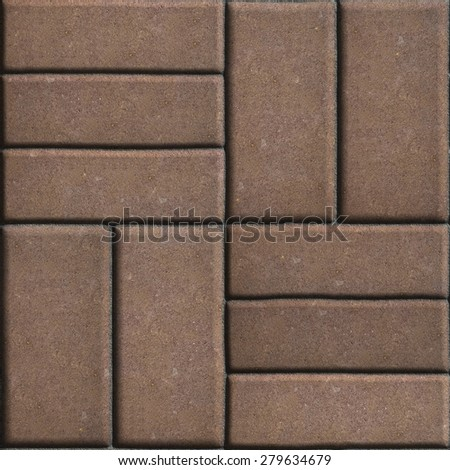 Stock photo: Brown Pave Slabs Rectangles Arranged Perpendicular to Each other Two or Three Pieces.