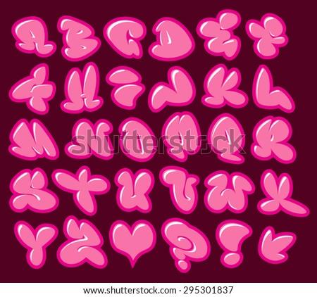 Graffiti bubble gom roze vector fonts Stockfoto © Melvin07