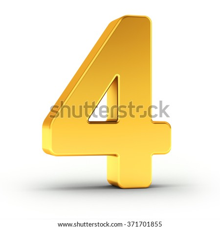 The number four as a polished golden object with clipping path Stock photo © creisinger