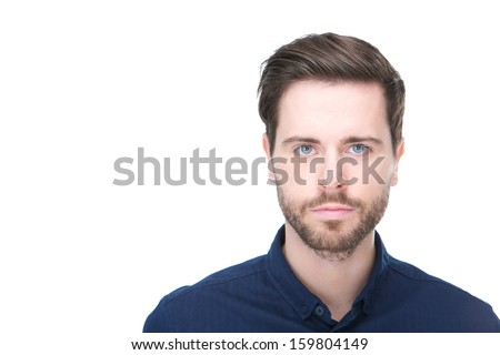 Handsome bearded man standing and staring in camera with rebuke Stock photo © deandrobot