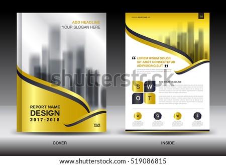 Oro cubrir anual informe folleto volante Foto stock © ganpanjanee