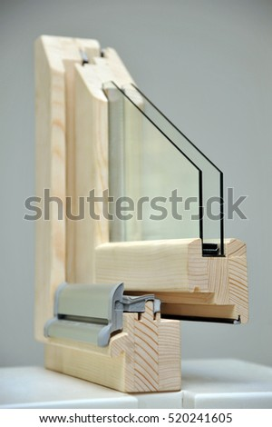 Cross section wooden window sample isolated on white background Stock photo © smuki