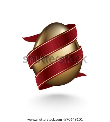 Glossy golden egg diagonal wrapped red ribbon isolated on white background. Design element Stock photo © Iaroslava