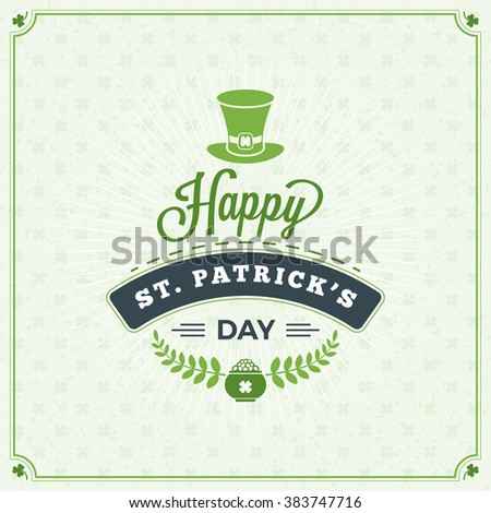 Happy Saint Patrick's Day Card. Typographic With Ornaments,  Ribbon and Clover Stock photo © fresh_5265954
