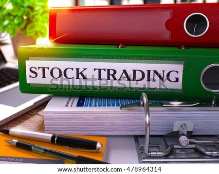 Green Ring Binder with Inscription Stock Trading. 3D Illustration. Stock photo © tashatuvango