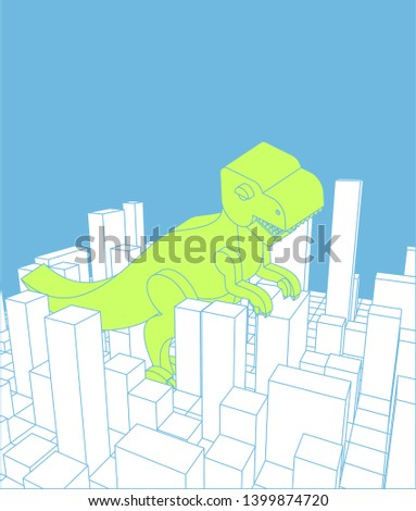 City and dinosaur. Abstract Skyline and monster. Industrial land Stock photo © popaukropa